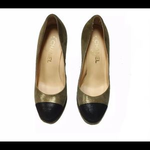 Chanel Gold and Black  High Heel Shors